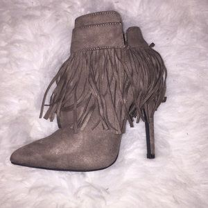 Fringe taupe grey booties